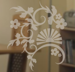 (D.02) Fan Flower Chinese Floral Etched/Frosted