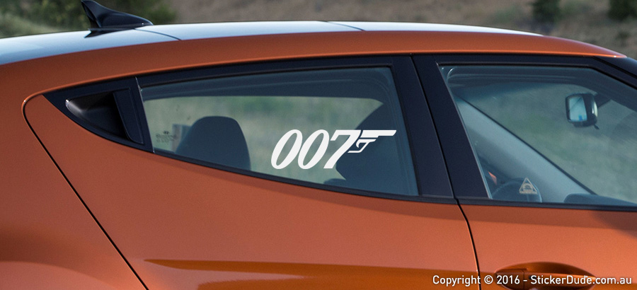 007 - James Bond Sticker | Worldwide Post | Range Of Sticker Colours