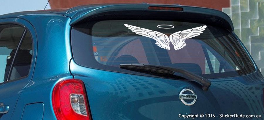 Detailed Angel Wings Sticker | Worldwide Post | Range Of Sticker Colours