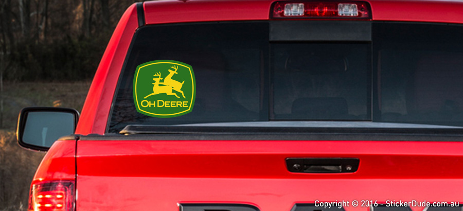 Oh Deere - John Deere Parody Sticker | Worldwide Post | Range Of Sticker Colours