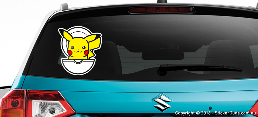Pikachu in Pokeball - Pokemon Sticker | Worldwide Post | Range Of Sticker Colou
