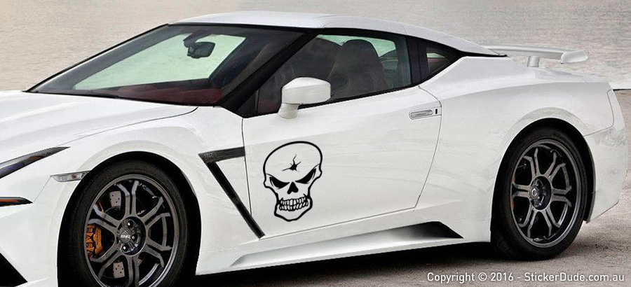 Skull with Bullet Hole Sticker | Worldwide Post | Range Of Sticker Colours