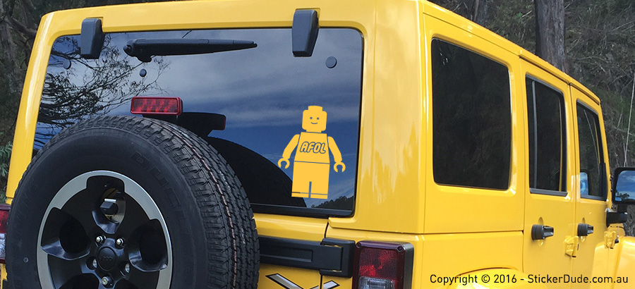 AFOL Lego Minifigure Sticker | Worldwide Post | Range Of Sticker Colours