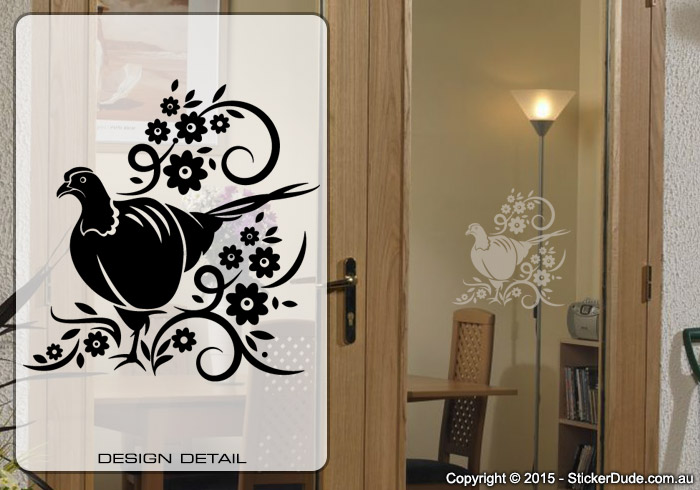 Etched glass Bird Flower Chinese Floral (00) Sticker | Worldwide Post