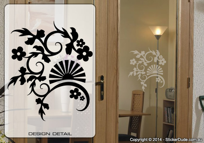 Etched glass Fan Flower Chinese Floral (01) Sticker | Worldwide Post
