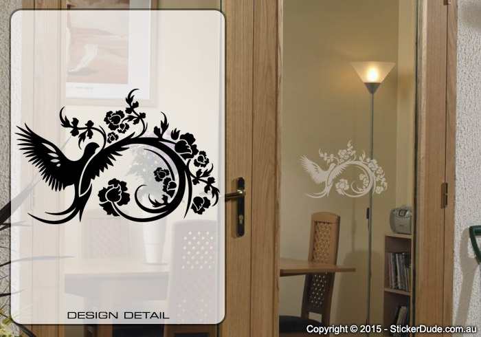 Etched glass Bird Flower Chinese Floral (03) Sticker | Worldwide Post