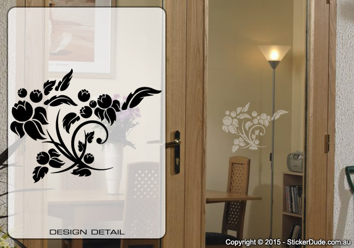 Etched glass Flowers Chinese Floral (05) Sticker | Worldwide Post