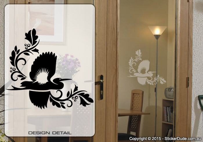 Etched glass Flying Crane Chinese Floral (06) Sticker | Worldwide Post