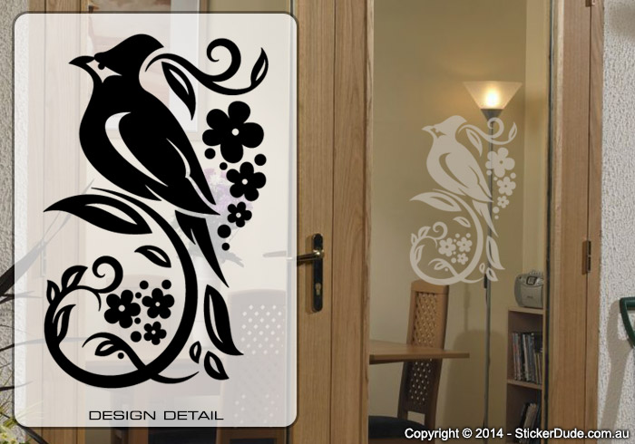Etched glass Bird Flower Chinese Floral (13) Sticker | Worldwide Post
